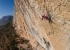 Laura Rogora climbing the famous sports route Fish eye 8c at Oliana in Spain