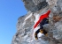 Matterhorn West Face: Marco Majori climbing through the overhanging yellow band