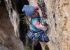 Polish climber Aleksandra Taistra on Hotel Supramonte in the Gole di Gorropu in Sardinia