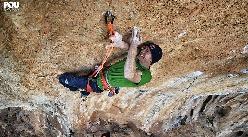 Iker Pou climbing Big Men 9a+ at Mallorca