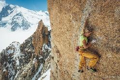 Federica Mingolla climbing Digital Crack, Mont Blanc