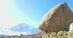 Nina Williams climbs Ambrosia at Buttermilks, Bishop, USA