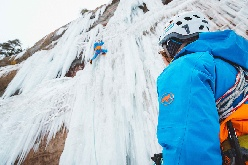 Ecstaice, Martin Dejori and Janluca Kostner ice climbing in Bletterbach canyon